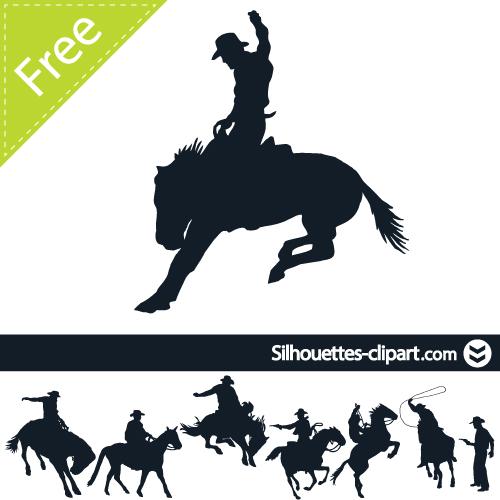 Free Cowboy Silhouette Clip Art.