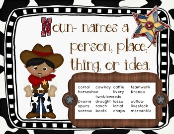 Parts of Speech Posters Western/Cowboy Themed.