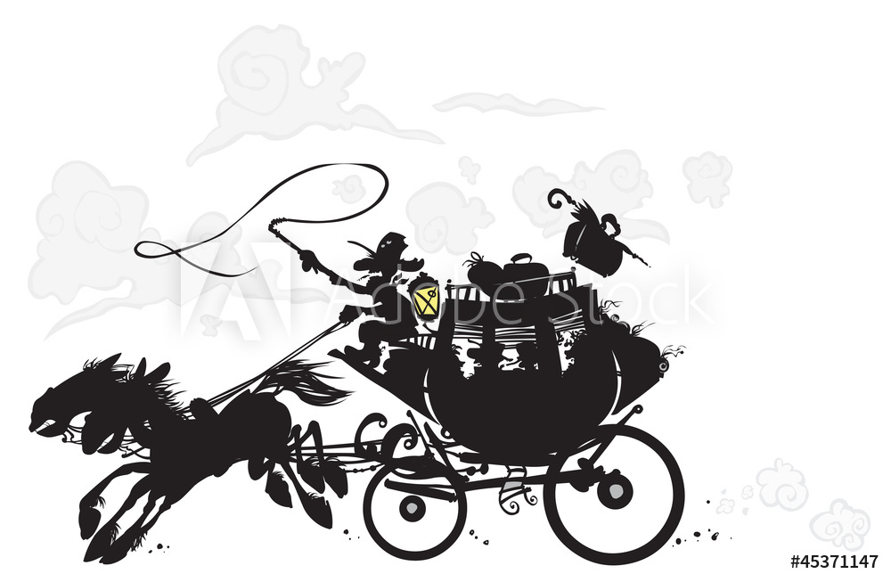 Photo & Art Print Western Stagecoach. Silhouette drawing.
