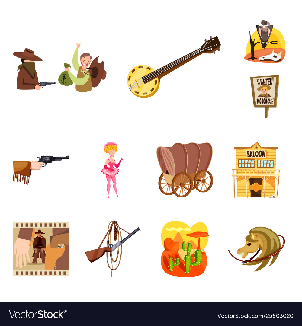 Wild and west logo set of vector image.