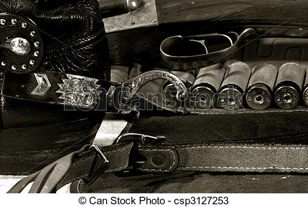 Stock Photos of Western cowboy still life on the desk csp3127253.