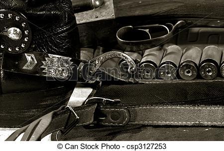Stock Photos of Western cowboy still life on the desk csp3127253.