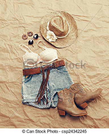 Stock Photo of Womens Western Beach Themed Clothing from Above.