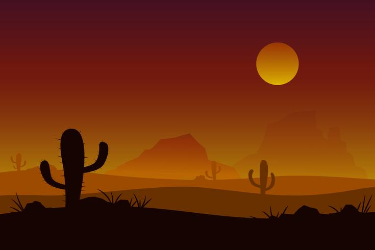 Sunset desert vector with sun cactus background..