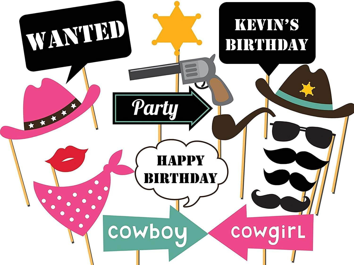 Cowboy Photo Booth Props Western Party Decorations Cowgirl Cowboy Photo  booth Props Wanted Decor Photo Props Wild West Photobotoh Prop Party Supply.
