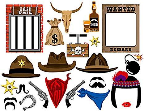 Amazon.com: ZealwithaFish Cowboy Photo Booth Props Western.