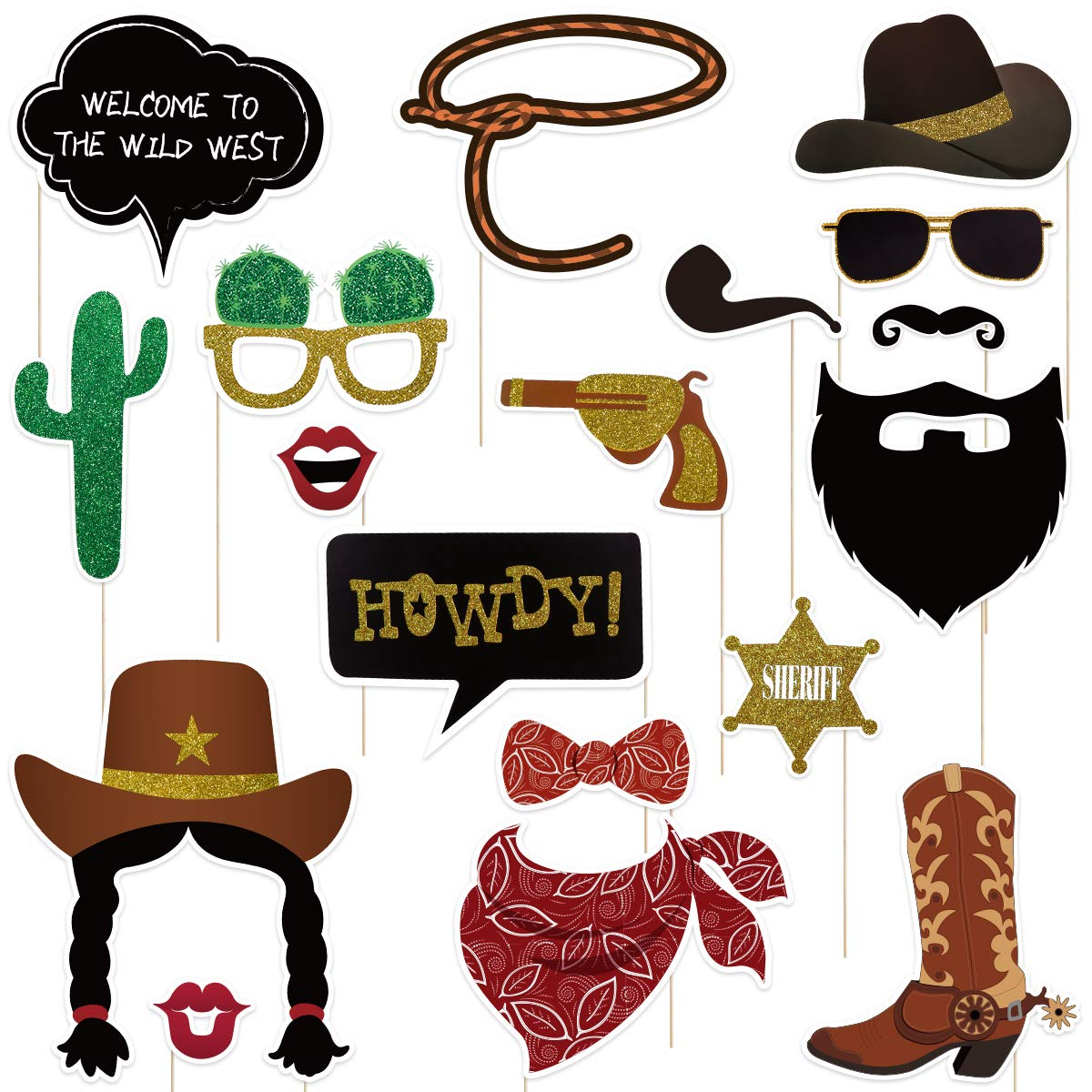 Amosfun West Cowboy Photo Booth Props Wild Western Cowboy Party Themed  Decoration 18pcs.