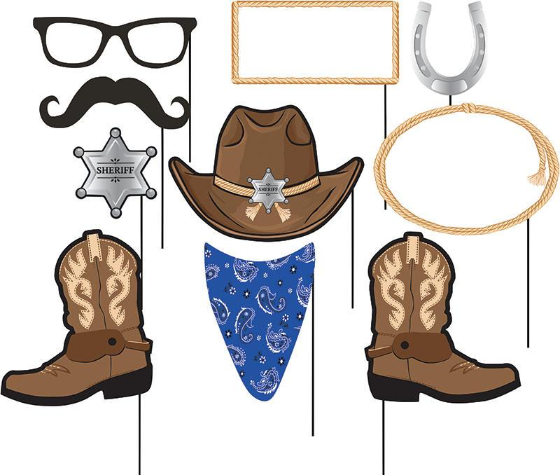 Cowboy Party Photo Booth Props, Western Birthday Picture Sticks.