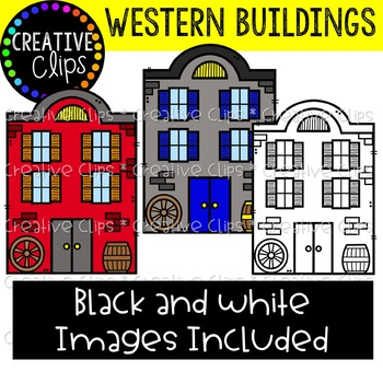 Western Town Buildings {Cowboy Clipart}.