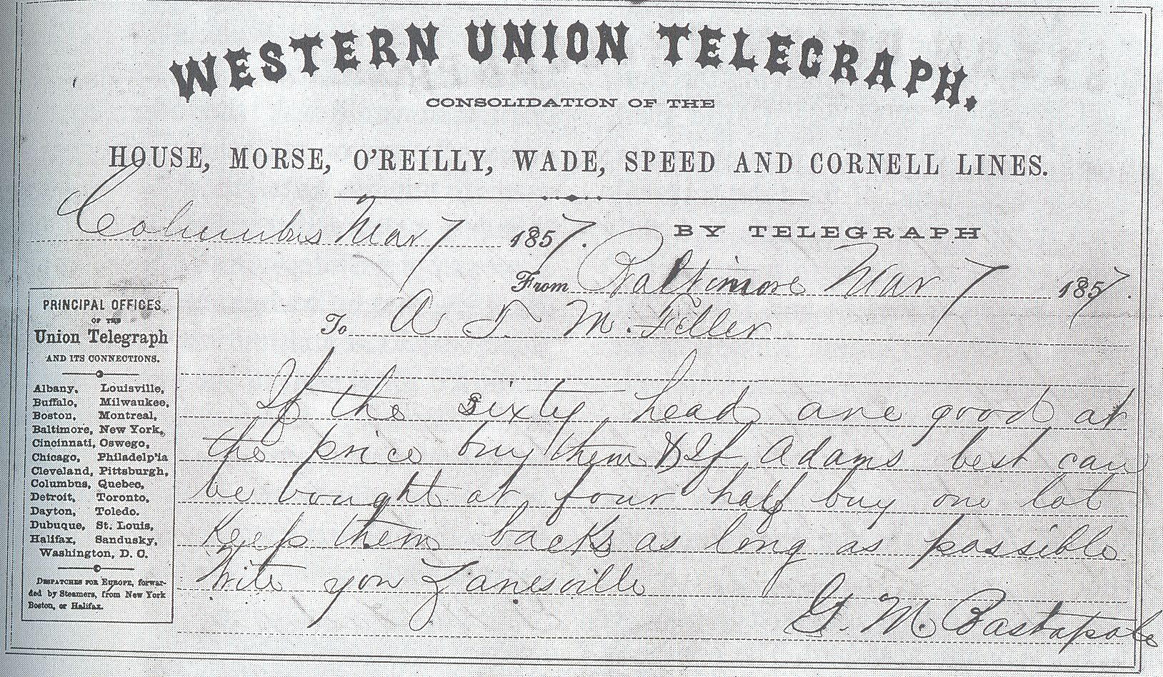 Early #WesternUnion telegram..