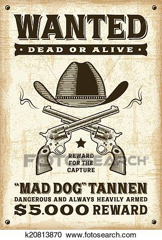 Vintage western wanted poster Clipart.