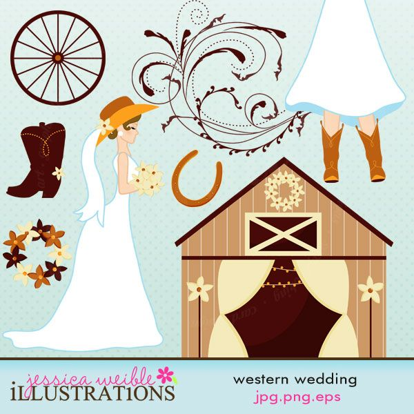 Western Wedding clipart set comes with 8 cute cliparts including: a.