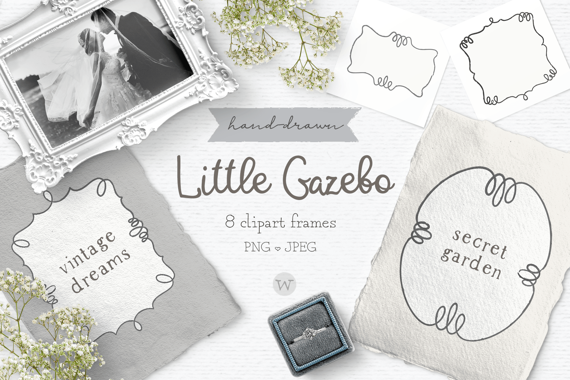 Vintage frame clipart, wedding clipart, border clipart By.