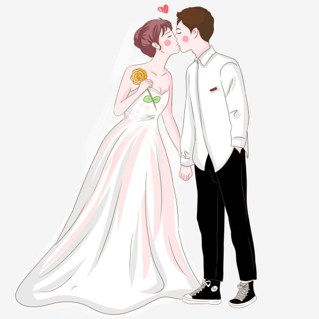 Hand Painted Western Style Wedding Bride And Groom Kissing.