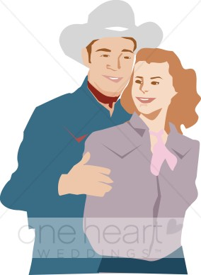 Country Western Couple Clipart.
