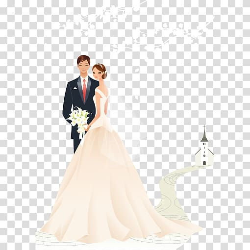 Couple illustration, Wedding invitation Greeting card Bride.