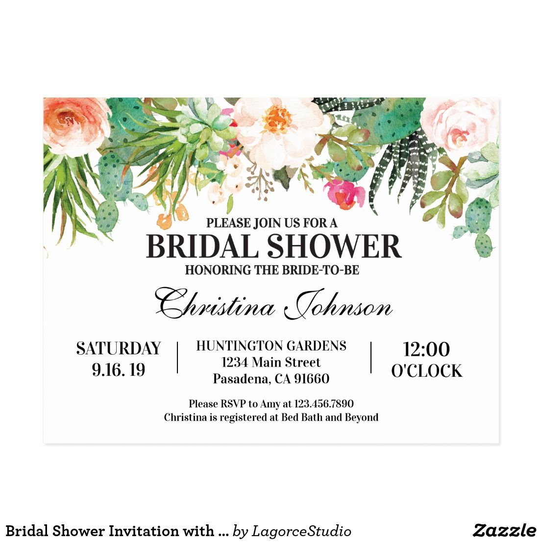 Bridal Shower Invitation with succulents, cactus Postcard.