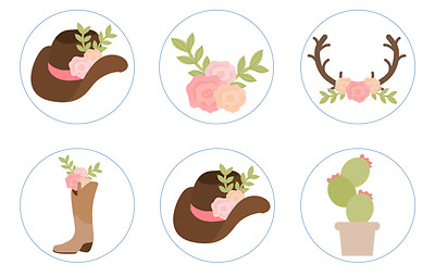Floral Western Bridal Shower Wedding Edible Cupcake Toppers Decoration.
