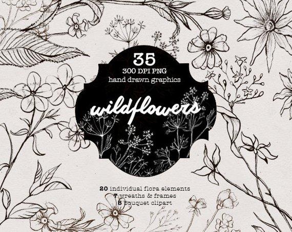Wildflowers Ink, Floral Tattoo, Lineart flowers, sketch.