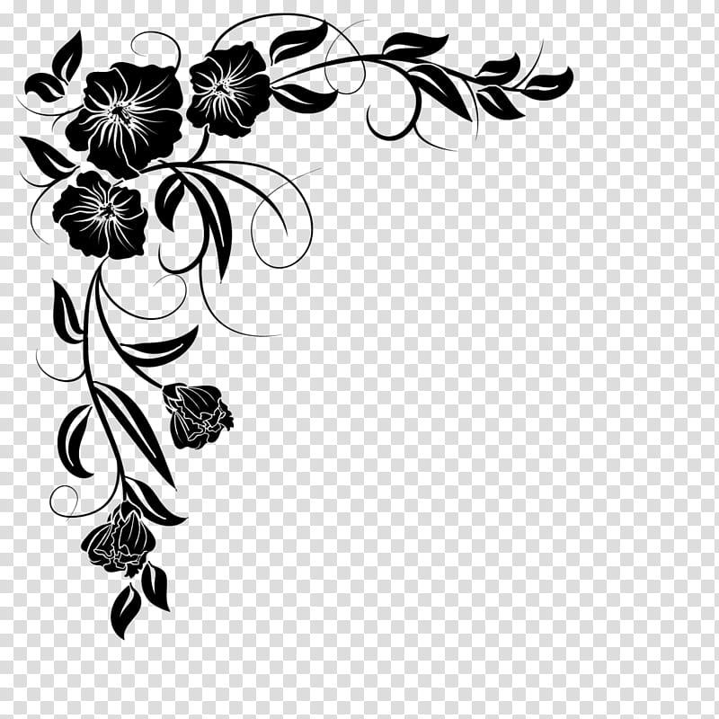 Corners , black flower sketch transparent background PNG.