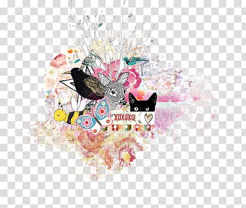 Mixed , Xoxo animals collage illustration transparent.