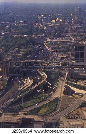 Stock Photo of Atlanta, GA, Georgia, Aerial view of downtown.