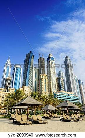 Stock Photography of Skyscrapers of Dubai Marina tower above The.