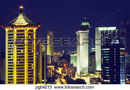 Stock Image of Singapore. View down Orchard Road with the Dynasty.