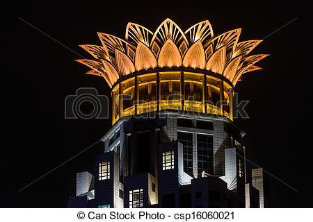 Stock Photo of westin bund center rooftop crown lotus shanghai.