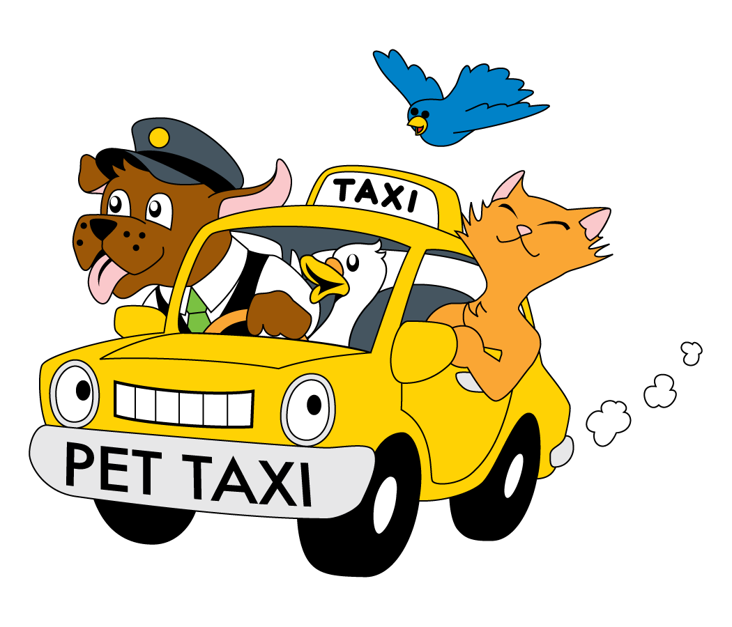 Dog In Taxi Clipart.