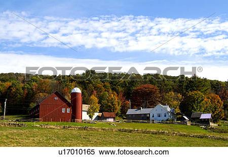 Stock Image of farm in fall color foliage weston vermont colour.