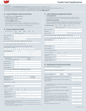 Fillable Online Credit card application form.
