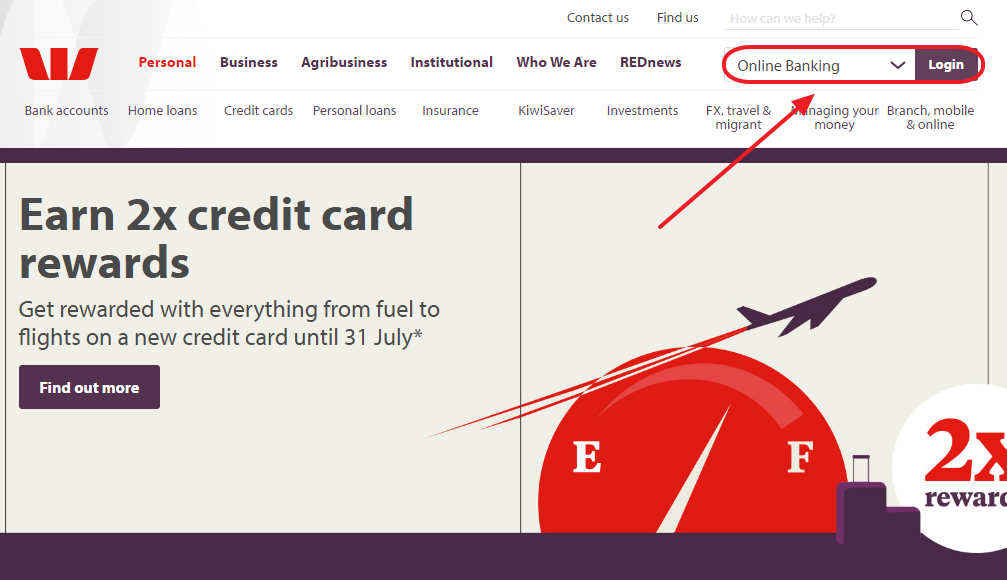 Westpac New Zealand Online Banking Sign.