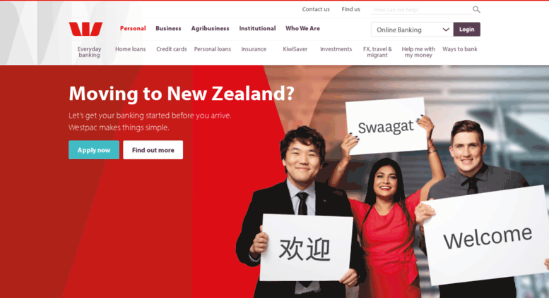 Access westpac.co.nz. Bank.