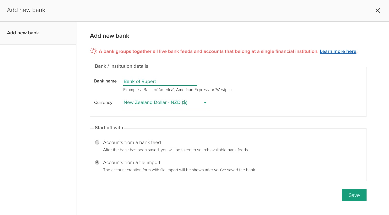Adding a new account on the Account Summary page.