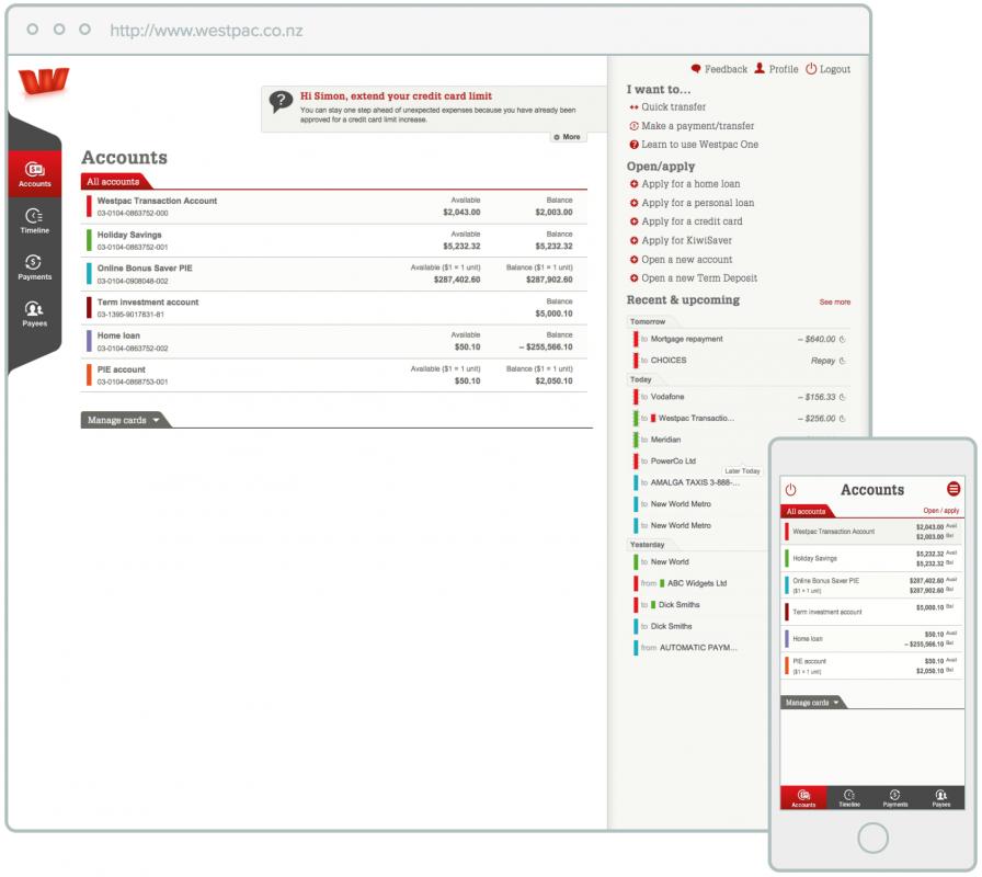 Westpac One Online Banking.