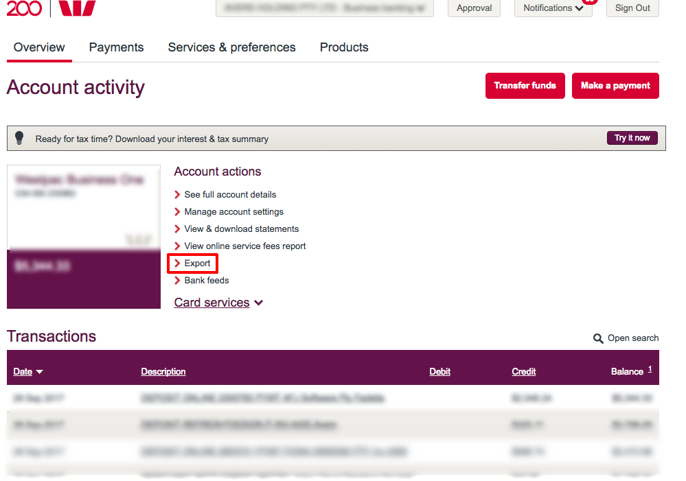How to export bank transaction from Westpac to Xero.