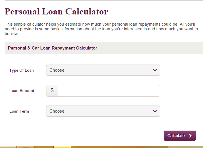 Society One, St. George and Westpac Personal Loan Calculators.