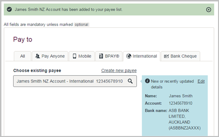 How to make an International Payment to new payee.