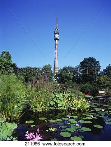 Stock Images of Television tower in park, Florianturm, Westphalian.