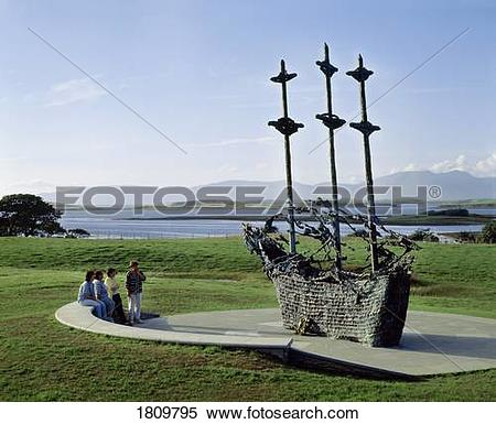 Stock Image of National Famine Memorial, 'coffin Ship', Westport.