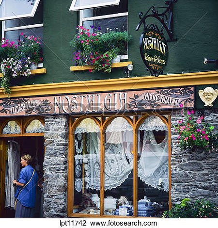 Stock Photo of NOSTALGIA LINEN & LACE SHOP WESTPORT COUNTY MAYO.