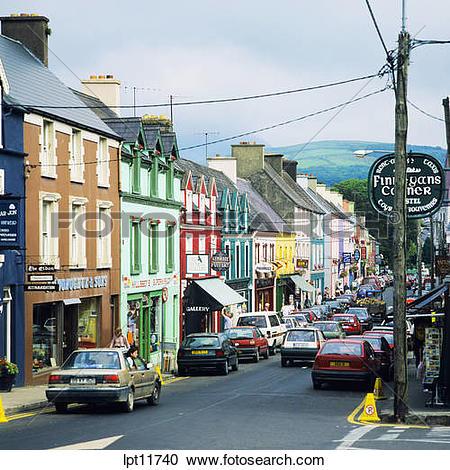 Stock Photography of MAIN STREET WESTPORT COUNTY MAYO IRELAND.