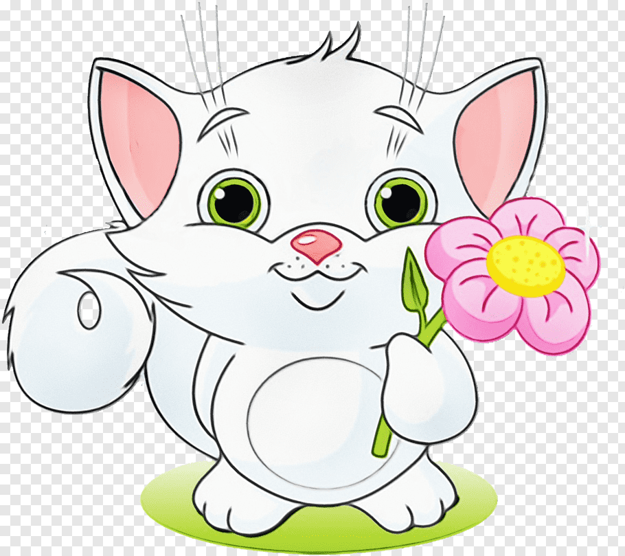 Friendship Kitten Watercolor painting Cat Love, Wet Ink, Hug.