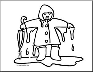 Clip Art: Basic Words: Wet (coloring page).
