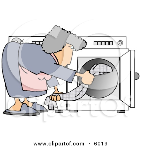 Housewife Putting Wet Clothes Into a Dryer Clipart Picture by.