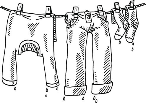 Laundry On the Line Clip Art.