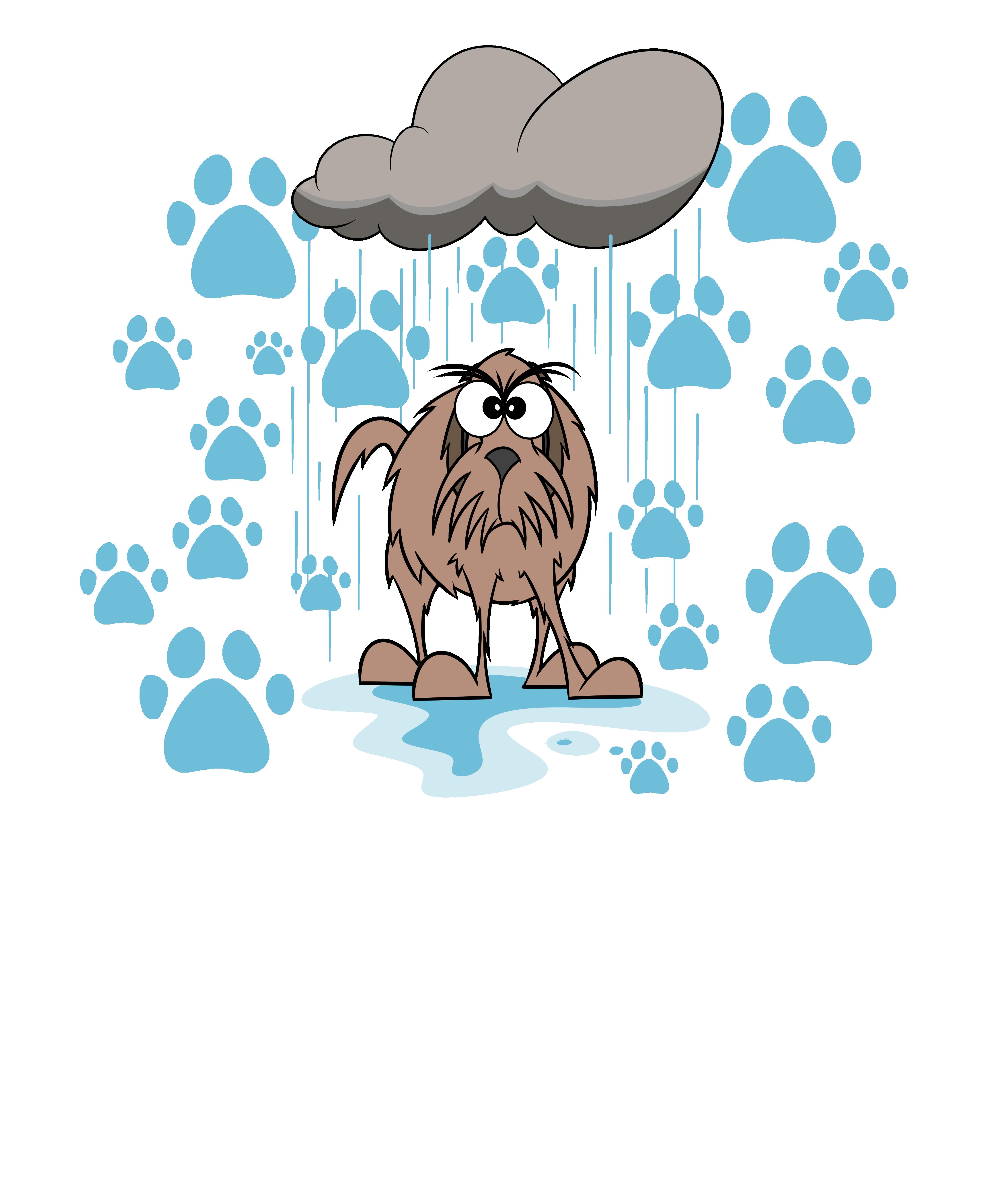 Grumpy wet dog paw print.