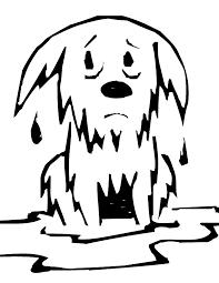 wet dog clip art black & white.