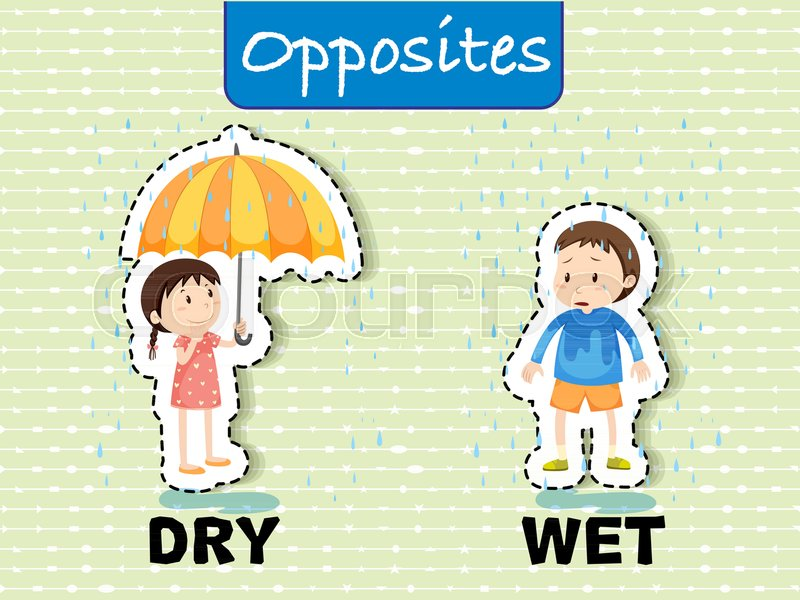 Opposite words for dry and wet.